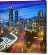 Atlanta Downtown By Night Canvas Print