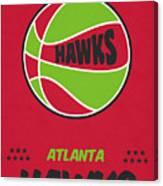 Atlanta Hawks Vintage Basketball Art Canvas Print