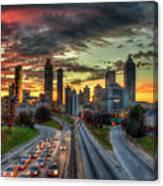 Atlanta Nite Lights Atlanta Downtown Cityscape Art Canvas Print