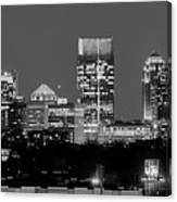 Atlanta Skyline At Night Downtown Midtown Black And White Bw Panorama Canvas Print