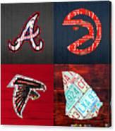 Atlanta Sports Fan Recycled Vintage Georgia License Plate Art Braves Hawks Falcons Plus State Map Canvas Print
