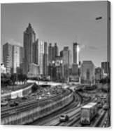 Atlanta Sunset Good Year Blimp Overhead Cityscape Art Canvas Print