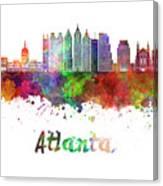 Atlanta V2 Skyline In Watercolor Canvas Print