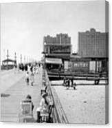 Atlantic City 1920 Boardwalk Promenade, Beach Sand, Signs Apollo Theatre, Mitzi  Canvas Print