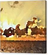 Atlantic Ocean Sunset In Oil  Canvas Print