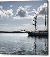 Atlantis - A Three Masts Vessel In Port Mahon Crystaline Water Canvas Print