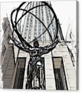 Atlas Sculpture Sketch In New York City Canvas Print