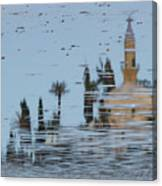 Atmospheric Hala Sultan Tekke Reflection At Larnaca Salt Lake Canvas Print