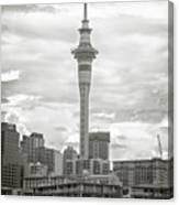 Auckland New Zealand Sky Tower Bw Texture Canvas Print