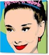 Audrey Hepburn Pop Art Blue Green Canvas Print