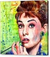 Audrey Hepburn Watercolor Canvas Print