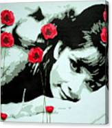 Audrey In Poppies Canvas Print