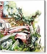 Austin A40 Van Rusting Away In The Garden Canvas Print