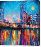 Austin Art Impressionistic Skyline Painting #2 Canvas Print