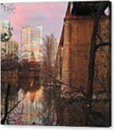 Austin Hike And Bike Trail - Train Trestle 1 Sunset Triptych Middle Canvas Print