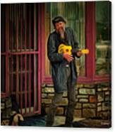 Austin Musician Plays The Blues Canvas Print