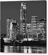 Austin Skyline At Night Black And White Bw Panorama Texas Canvas Print