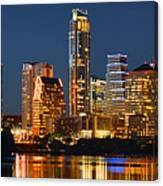 Austin Skyline At Night Color Panorama Texas Canvas Print