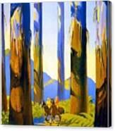 Australia - The Tallest Trees In The British Empire - Marysville, Victoria - Retro Travel Poster Canvas Print