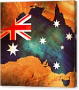 Australian Flag On Rock Canvas Print
