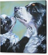 Australian Shepherd Mom And Pup Canvas Print
