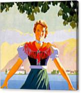 Austria, Young Woman In Traditional Dress Invites You, Danube River Canvas Print