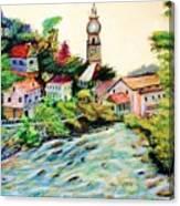 Austrian Alpine Village   Canvas Print