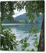 Austrian Lake Through The Trees Canvas Print