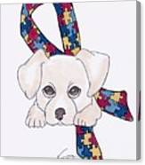 Autism Awareness And Puppy Love Canvas Print