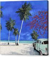 Auto Sulla Spiaggia Canvas Print