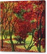 Autum Red Woodlands Painting Canvas Print