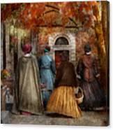 Autumn - People - A Walk Downtown  Canvas Print
