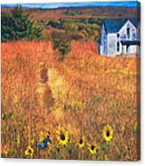 Autumn Abandoned House In The Prairie Canvas Print
