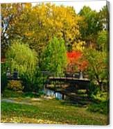 Autumn At Lafayette Park Bridge Landscape Canvas Print