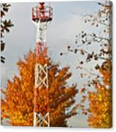Autumn At The Airport Light Tower Canvas Print