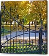 Autumn At The Gates Of Lafayette Park Portrait Canvas Print