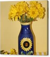 Autumn Blossoms And Blue Vase Canvas Print