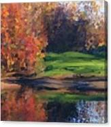 Autumn By Water Canvas Print