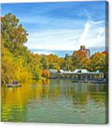 Autumn Central Park Lake And Boathouse Canvas Print