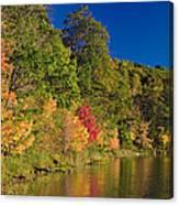 Autumn Color Trees Along Beauty Lake Canvas Print