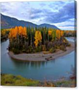 Autumn Colors Along Tanzilla River In Northern British Columbia Canvas Print