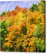 Autumn Country On A Hillside II - Digital Paint Canvas Print
