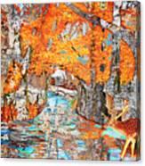 Autumn Deer Birch Background Canvas Print