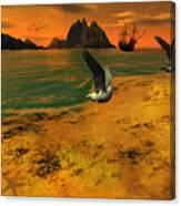 Autumn Evening In The Beach Canvas Print