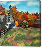 Autumn Farmstead Silk Painting Canvas Print