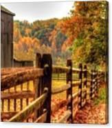 Autumn Fence Posts Scenic Canvas Print
