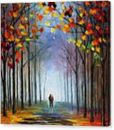 Autumn Fog 4 - Palette Knife Oil Painting On Canvas By Leonid Afremov Canvas Print