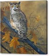 Autumn Highlights - Great Horned Owl Canvas Print