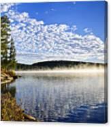 Autumn Lake Shore With Fog Canvas Print