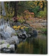 Autumn Leaves And Merced River, Mariposa County, California Canvas Print